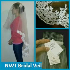NWT  2-tier Bridal Veil handmade with embroidery Brand New, never worn, with tags attached!  Handmade in England by Richard Designs.  Style AL050 through RoseTree Boutique in WV (can visit their website to see this veil)  Ivory  1st tier is 20.5 inches long, can be worn in front to cover your face, or hung in back. Has a thin stiching at the hem.   2nd tier is 43 inches long. Has beautiful lace applique which can be removed, if you want to shorten or alter the Veil. Looks like embroidery…