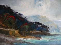 Coromandel Colours. Palette Knife, Oil Painting, small, blue green red, stunning, home decor, gift, sea, ocean, art painting signed original. KareNZGallery on Etsy.