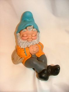 Orange and Blue Gnome with Grey Leggings by LeviLadyCeramics, $19.95