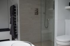 ensuite bathroom with sloping ceiling - the shower uses the area with full head height Project Management, Bathrooms, Ceiling, Shower, Interior, Design, Rain Shower Heads, Ceilings, Bathroom