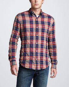 Vince Large-Check Button-Down Shirt
