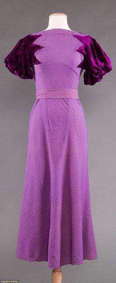 1930s brocade crepe and velvet sleeves cocktail dress.