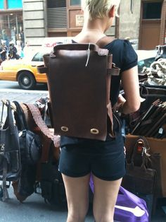 Leather back pack rucksack handmade rustic by LUSCIOUSLEATHERNYC, $359.00