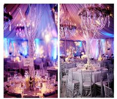 These gorgeous chandeliers look incredible. If you have a venue in mind with these kind of elements for your Christmas party why not theme it in a winter wonderland theme with white draping and birch tree centre pieces.