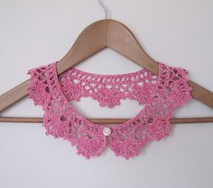 Raspberry Cake Lace collar necklace in pink and от elfinhouse
