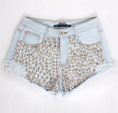 $30.00   Edges frayed denim shorts rivet AT0112A