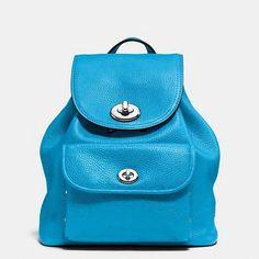 NWT Coach Blue Pebble Leather Mini Turnlock Rucksack Backpack Bag 37581  ($295) #Coach #Backpack
