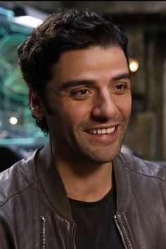 Oscar Isaac on the set of Star Wars: The Force Awakens