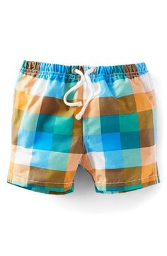 Mini Boden 'Bathers' Print Swim Trunks (Baby Boys & Toddler Boys) available at #Nordstrom