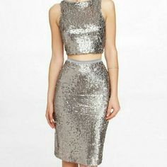 PREZ DAY SALE EXPRESS sequin  crop top skirt Sale Ends 2/15 - $89 Orginally $99 Worn once, beautiful and elegant! Top is small and skirt is high waist size 2, however it will fit a 4. Express Dresses Midi