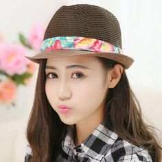 Fashion ladies straw panama hat for summer flower pattern