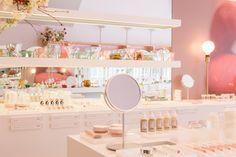 Boutique Decor, Boutique Interior, Interior Design Services, Glossier Showroom, Glossier Launch, Magnolia Store, Corporate Event Design, Cosmetic Shop, Retail Interior