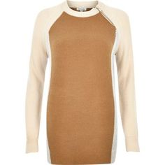 I'm shopping Tan brown colour block zip jumper in the River Island iPhone app.