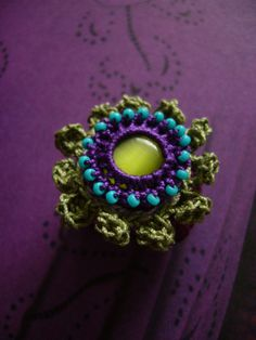 crochet ring with cateye-cabochon