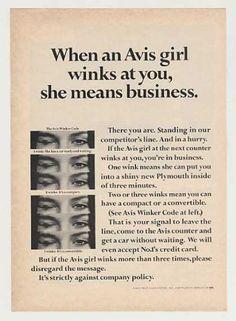 wow!!  avis rent a car girl winker code ad - 1967 - from vintageadbrowser.com