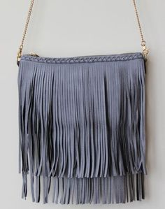 slate grey leather bohemian fringe bag - just added to the fort & field shop!