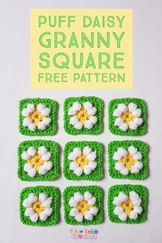 Try this easy crochet puff daisy flower granny square, it's fun, colorful & relaxing.