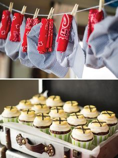 Vintage Train Birthday Party-- hats & red bandanas.  Old suitcases to display train themed food.