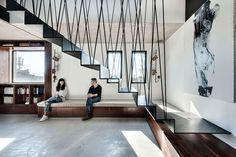 suspended metal staircase