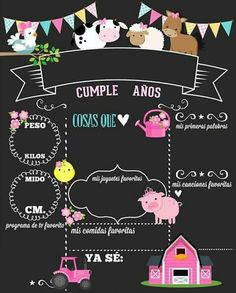 la granja New Hair Cut anne with an e new haircut Cow Birthday, Birthday Board, First Birthday Posters, Beautiful Flowers Images, Barn Parties, Birthday Chalkboard, Baby Album, Farm Party, Ideas Para Fiestas