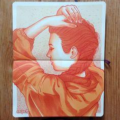 #art #artist #artwork #draw #drawing #sketch #sketching #illustration #ilustracion #paint #painting #mixedmedia #color #marker #design #dibujo #monterrey #mexico #today #braid #ink #chartpak #copic #orange #prismacolor #mexicanart #artemexicano #moleskine #sketchbook