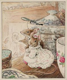 I loved Beatrix Potter when I was a child.her stories were magic.Helen Beatrix Potter - The Mice Listen to the Tailor's Lament Beatrix Potter Illustrations, Beatrice Potter, Peter Rabbit And Friends, Marjolein Bastin, Motifs Animal, Hamsters, Rodents, Children's Book Illustration, Book Illustrations