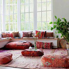 Moroccan Home Decor, Moroccan Bedroom, Moroccan Interiors, Moroccan Rugs, Moroccan Floor Cushions, Boho Cushions, Cushions On Sofa, Outside Cushions, Simple Bedroom Decor