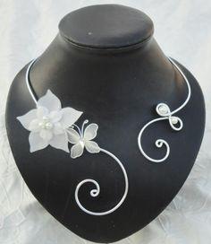 Collier mariée mariage fleur de soie + bijou de dos Melissa : Collier par tendancebijoux