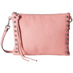 Rebecca Minkoff Jon Crossbody with Studs (Guava) Cross Body Handbags ($145) ❤ liked on Polyvore featuring bags, handbags, shoulder bags, crossbody purse, red shoulder handbags, handbags crossbody, man bag and shoulder handbags