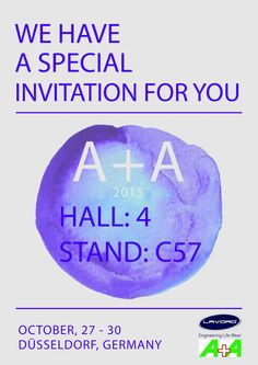 SPECIAL INVITATION We would like to invite you to visit our booth at A+A 2015!  HALL: 4 Stand: C57