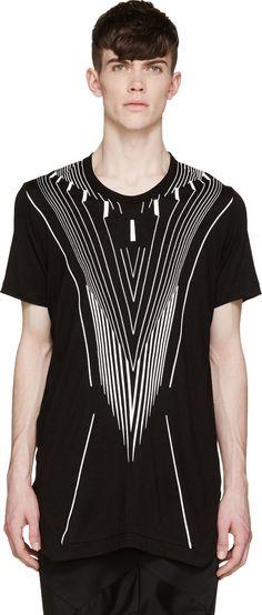 Julius Black & White V-Line T-Shirt