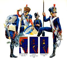 """FRANCIA -  """"Foot Artillery of the Line""""   • Gunner 1804-1806 service dress  • Drummer 1809-1812 campaign dress  • Drummer 1804-1806  • Gunner 1813-1814  Emir Bukhari"""