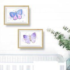 Purple Butterfly Nursery Decor for little girls rooms. #toddler #baby #decor #blue #lavender #walldecor #littlesplashesofcolor.com #nurseryart Purple Butterfly Nursery, Purple Nursery Decor, Grey Wall Decor, Purple Baby, Butterfly Art, Nursery Prints, Nursery Wall Art, Art Wall Kids, Art For Kids