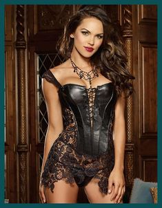 Fashion Sexy Women Corset With Thong 2017 Faux Leather Black Lace Shaper Bustier Plus Size S-6XL New