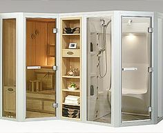 Check out this sauna and steam room for a Home Spa Room. Ooo. Nice Setup. Need To Add The Lights To It. Just Here To Go Oo at the convenience of it. (Shop)