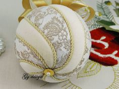 This ornament is made with gold model special fabrics ( brocarde ) and cream velvet used techniques kimekomi. This ornament is of my own design and is