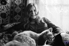 Janis Joplin and her cat