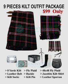 Cc Schottisch Herren Kilt Traditionell Highland Kleid Rock 7,3 M