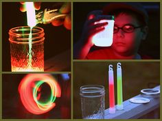 Glowstick Lanterns. He loves doing anything and everything with these things!