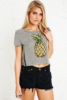 Shop Truly Madly Deeply Pineapple Crop Top at Urban Outfitters today. Cropped Tops, Party Fashion, Teen Fashion, Womens Fashion, Watermelon Outfit, Beautiful Outfits, Cute Outfits, Urban Outfitters, Diy Crop Top
