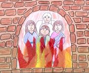 sunday school Shadrach, Meshach, and Abednego in the fiery furnace color sheet bible craft