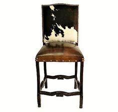 Cowhide Bar Stool - Western Bar Chairs - Hair on Hide Western Chair