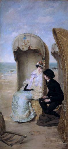 The Confession - Vicente Palmaroli Gonzalez Spanish Painters, Spanish Artists, Photos Voyages, Pre Raphaelite, Victorian Art, Couple Art, Beach Art, Beautiful Paintings, Love Art