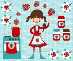 "Strawberry Pattern Motiv: ""Ella_Erdbeer"" (#67377) © RevoluzZza  | One of the Top 20 stoffn's strawberry pattern contest in June 2015"