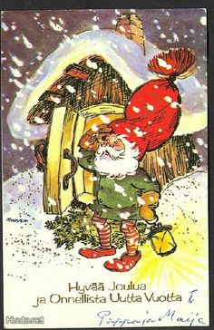 """Christmas 1921 Santa Claus Checking Weather Collectible Antique Vintage Postcard Christmas 1921 Santa Claus checking the weather. Title says """"Merry Christmas and a Happy New Year in Finnish. Used Finl Christmas Tale, Christmas Time Is Here, Christmas Photos, Christmas Crafts, Merry Christmas, Vintage Greeting Cards, Vintage Christmas Cards, Christmas Greeting Cards, Vintage Postcards"""