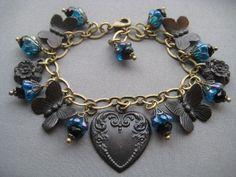 Victorian Charm Bracelet  Butterfly by SilverTrumpetJewelry, $55.00