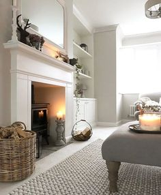 New living room ideas with fireplace grey rugs Ideas New Living Room, Home And Living, Living Spaces, Log Burner Living Room, Cosy Living Room Warm, Living Room With Stove, Cottage Living Room Decor, Living Room With Carpet, Country Living Rooms