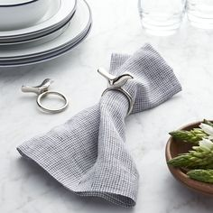 Silver Bird Napkin Ring - Crate and Barrel Crate And Barrel, Napkin Ring Folding, Silver Napkin Rings, Egg Holder, Gold Wood, Wood Crates, Interior Stylist, Modern Christmas, Table Linens