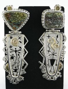 Sterling, 14k gold and druzy quartz hinged drop earrings by Myron Panteah