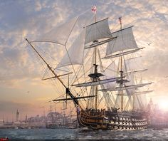 HMS Victory Ships by: Dmitriy Mironov ------------------------------------------------------ In the work the following was used: 3DS MAX 2011 Photoshop CS5 V-ray  --- http://www.renderu.com/gallery/show_work.php?work_id=80202_rub=1_add=award#work